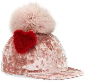 Federica Moretti Velvet Baseball Cap w/ Fur Pompom & Heart