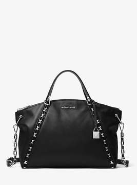Michael Kors Sadie Leather Satchel - BLACK - STYLE