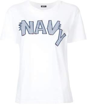 Jil Sander Navy embroidered logo T-shirt