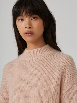 Frank and Oak Mohair-Wool-Blend Sweater in Dusty Pink