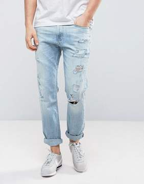 Hollister Cropped Skinny Jeans Destroyed in Light Wash