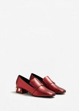 MANGO Appliqué heel loafers