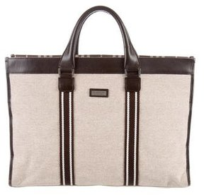 Burberry Leather-Trimmed Tote - NEUTRALS - STYLE