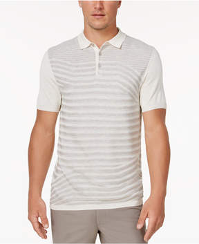Alfani Men's Stripped Silk Blend Sweater Polo, Created for Macy's