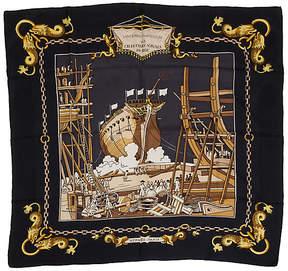 One Kings Lane Vintage HermAs Black Silk Navel Ship Scarf - Vintage Lux