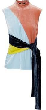 Cédric Charlier Tie-Front Color-Block Crushed-Velvet Top