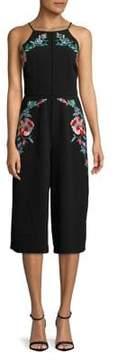Adelyn Rae Embroidered Floral Halter Jumpsuit