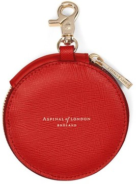 Aspinal of London Round Coin Purse With Keyring In Scarlet Saffiano