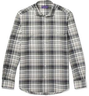 Ralph Lauren Purple Label Stewart Checked Cotton And Cashmere-Blend Shirt