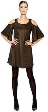 ECI Metallic Cold Shoulder 3/4 Sleeve Shift Dress.