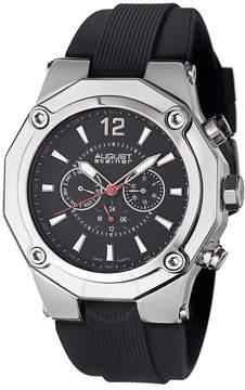 August Steiner Swiss Multi-Function Black Silicone Strap Men's Watch