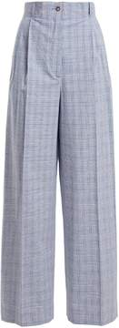 Stella Jean Checked high-rise cotton-blend trousers