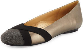 Neiman Marcus Ballerina Leather Flat with Chain Cap-Toe, Multi