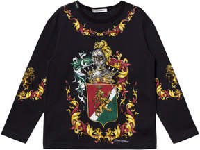 Dolce & Gabbana Navy Crest Print Long Sleeve Tee