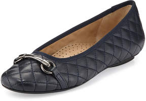 Neiman Marcus Suzy Quilted Napa Ballet Flat, Navy