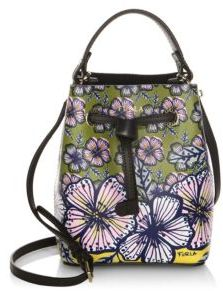 Furla Floral Leather Drawstring Bucket Bag