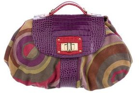 Etro Embossed Leather & Suede Satchel
