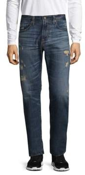 AG Adriano Goldschmied Distressed Slim Straight Cotton Jeans