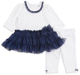 Little Me Baby Girls Two-Piece Lace Cotton Dress and Leggings Set