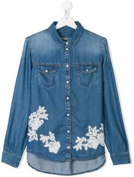 Ermanno Scervino TEEN floral embroidered denim shirt
