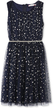 Speechless Metallic Star-Print Dress, Big Girls (7-16)