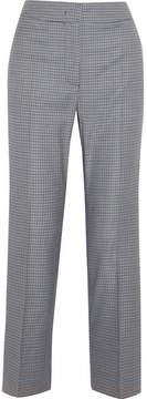 Cédric Charlier Plaid Wool-blend Straight-leg Pants - Blue