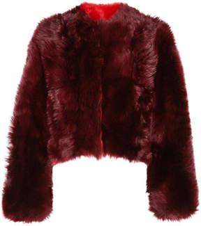 Calvin Klein Overized Cropped Alpaca Coat - Burgundy