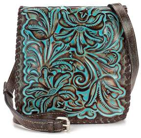Patricia Nash Tooled Turquoise Collection Granada Floral-Embossed Cross-Body Bag
