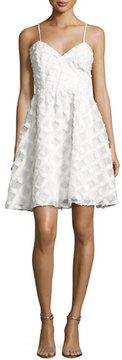 Zac Posen Viola Sleeveless Textured Cocktail Dress, White