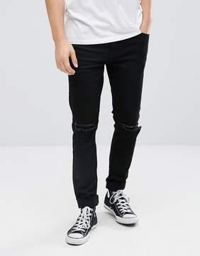 Dr. Denim Clark Black Ripped Slim Jeans