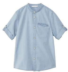 MANGO Striped mao collar shirt