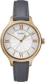 Timex Women's Peyton Gray Leather Strap Watch