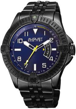 August Steiner Mens Black Strap Watch-As-8185bk