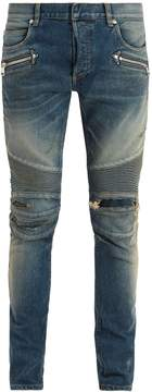 Balmain Mid-rise distressed skinny biker jeans