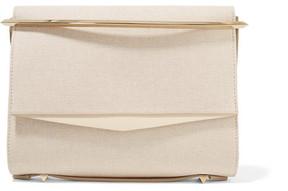 Eddie Borgo - Boyd Small Leather-trimmed Cotton-canvas Clutch - Cream