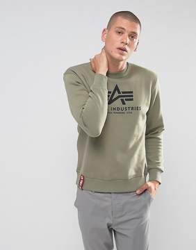Alpha Industries Logo Crew Sweatshirt in Olive