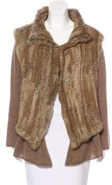 Minnie Rose Cashmere Fur-Accented Cardigan