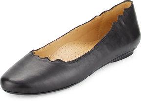 Neiman Marcus Seva Scalloped Leather Flat, Black