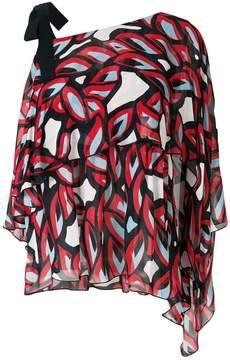 Pinko abstract print asymmetric blouse
