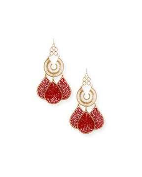 Devon Leigh Red Teardrop Chandelier Earrings