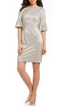 Donna Morgan Metallic Bell Sleeve Dress