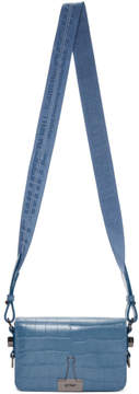 Off-White Blue Croc Mini Flap Bag