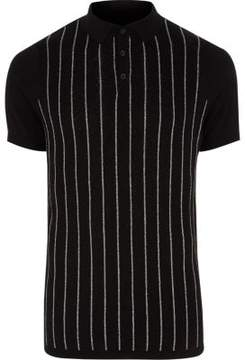 River Island Mens Black glitter stripe knitted polo shirt