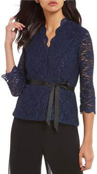 Alex Evenings V-Neck Sequin Lace Blouse