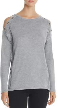 Design History Cold Shoulder Grommet Sweater