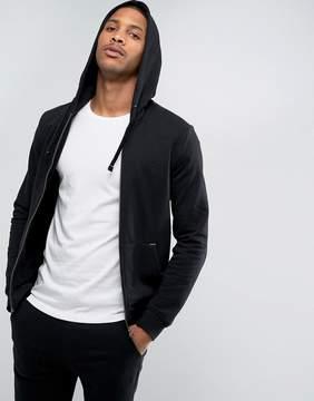 Benetton Zip Up Hoodie In Black