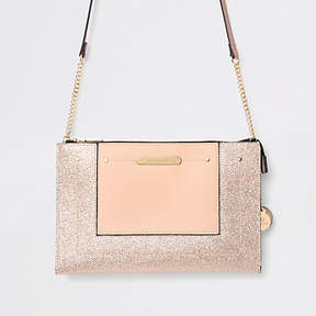 River Island Gold embossed glitter cross body bag