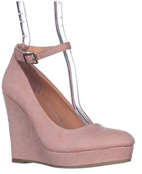 Material Girl Womens Vivie Fabric Closed Toe Ankle Strap Wedge Pumps.