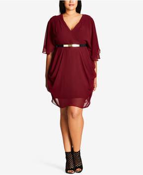 City Chic Trendy Plus Size Draped Chiffon Dress