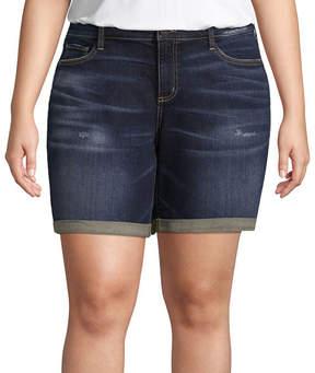 Boutique + + Denim Short 8 Roll Cuff - Plus